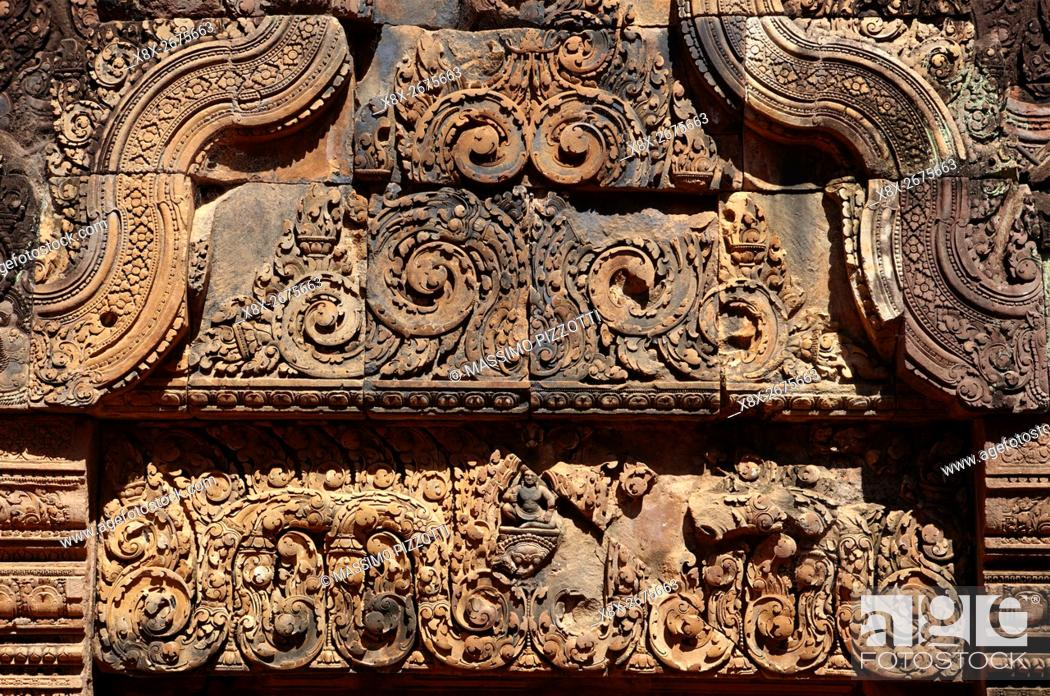 Stock Photo: Banteay Srei temple, Angkor, Siem Reap, Cambodia.