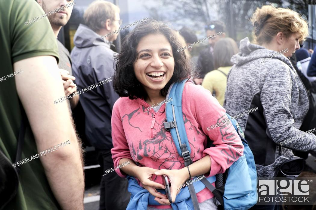 Stock Photo: Young indian woman enjoying trip to nature. Eibsee, Bavaria, Germany.