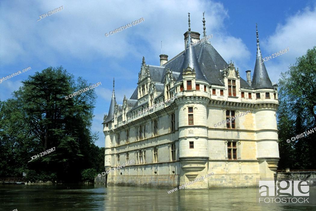 Stock Photo: Chateau d'Azay-le-Rideau, Indre-et-Loire department, Centre region, France, Europe.