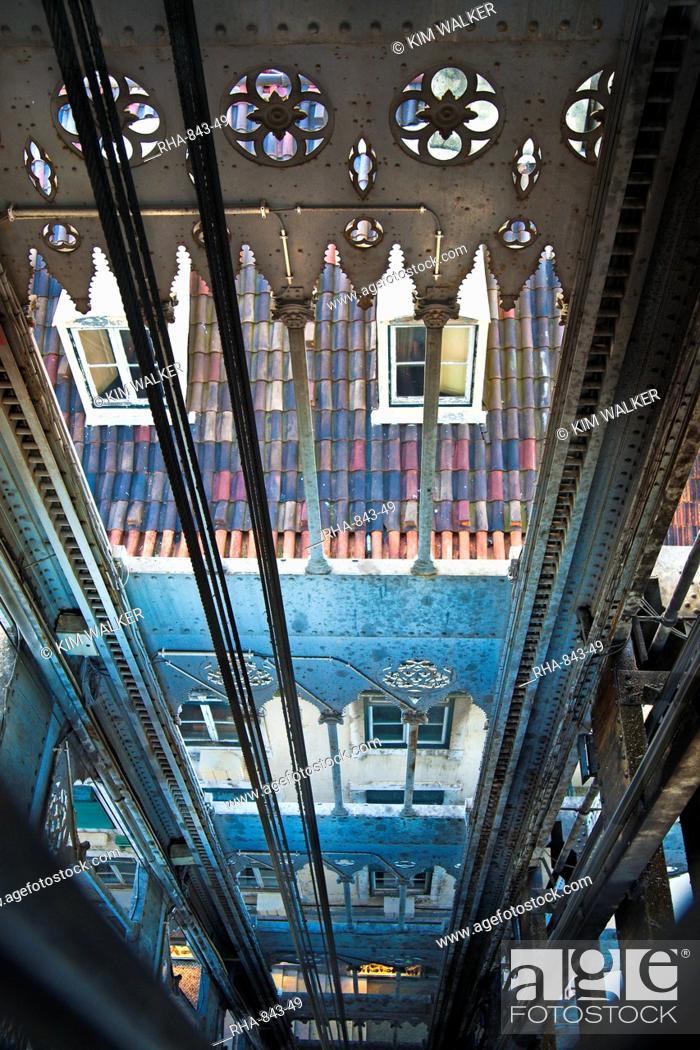 Stock Photo: Santa Justa Elevator built in 1902 by Eiffel's apprentice, French architect Raoul de Mesnier du Ponsar, Lisbon, Portugal, Europe.