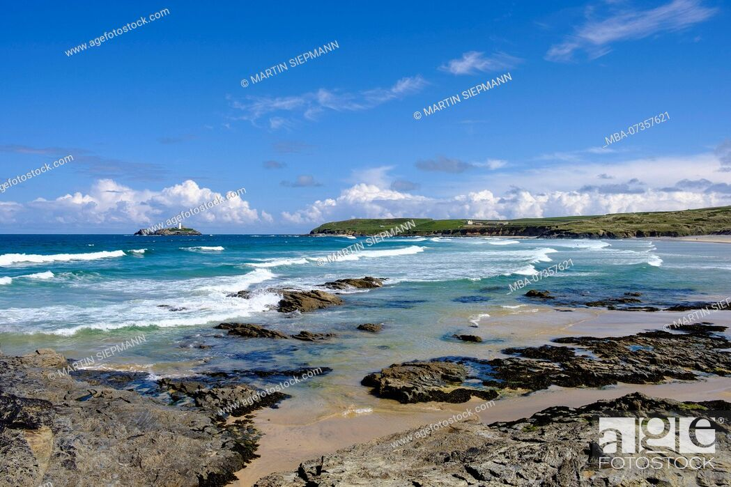 Stock Photo: Gwithian Beach, Godrevy Island, at Gwithian, St Ives Bay, Cornwall, England, UK.