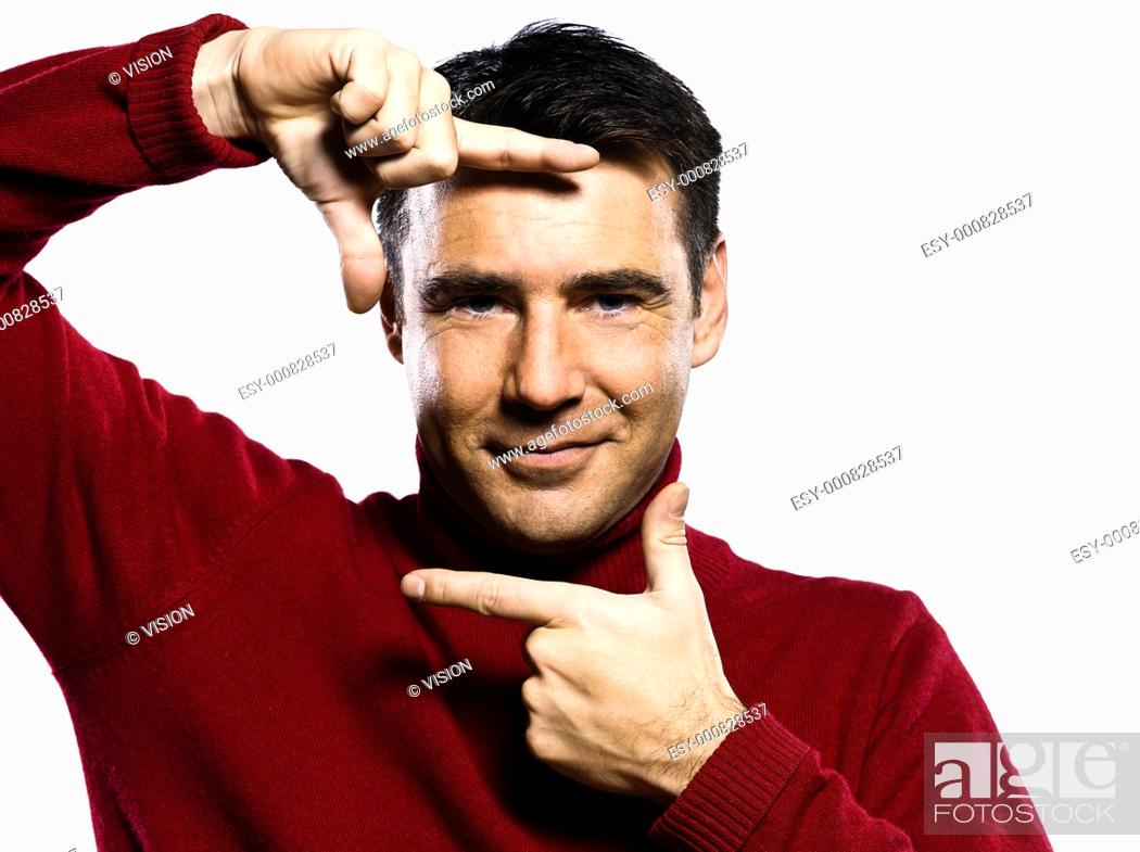 Stock Photo: caucasian man finger frame gesture studio portrait on isolated white backgound.