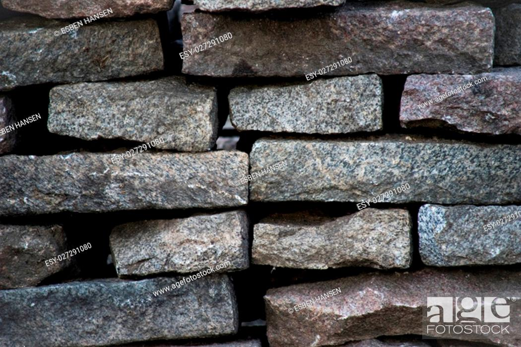 Stock Photo: close-up of stack of granite stone, tiles.