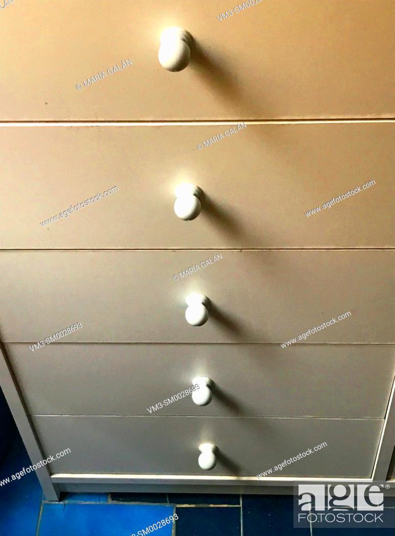Stock Photo: Drawers of kitchen furniture.