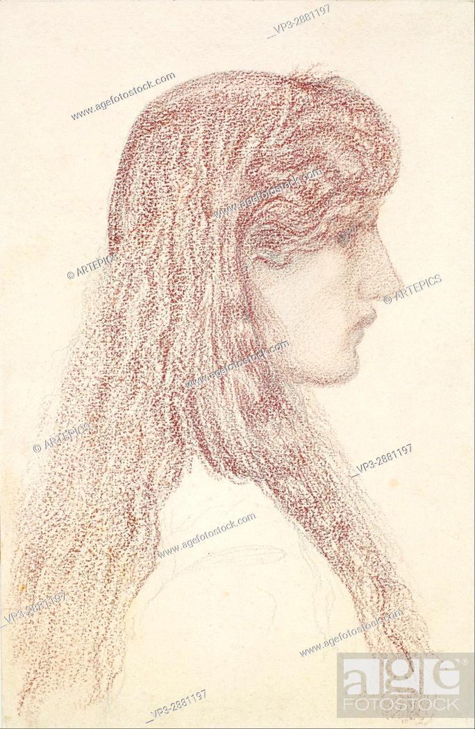 Stock Photo: Edward Burne-Jones - Maria Zambaco - Profile Study - Birmingham Museum and Art Gallery.