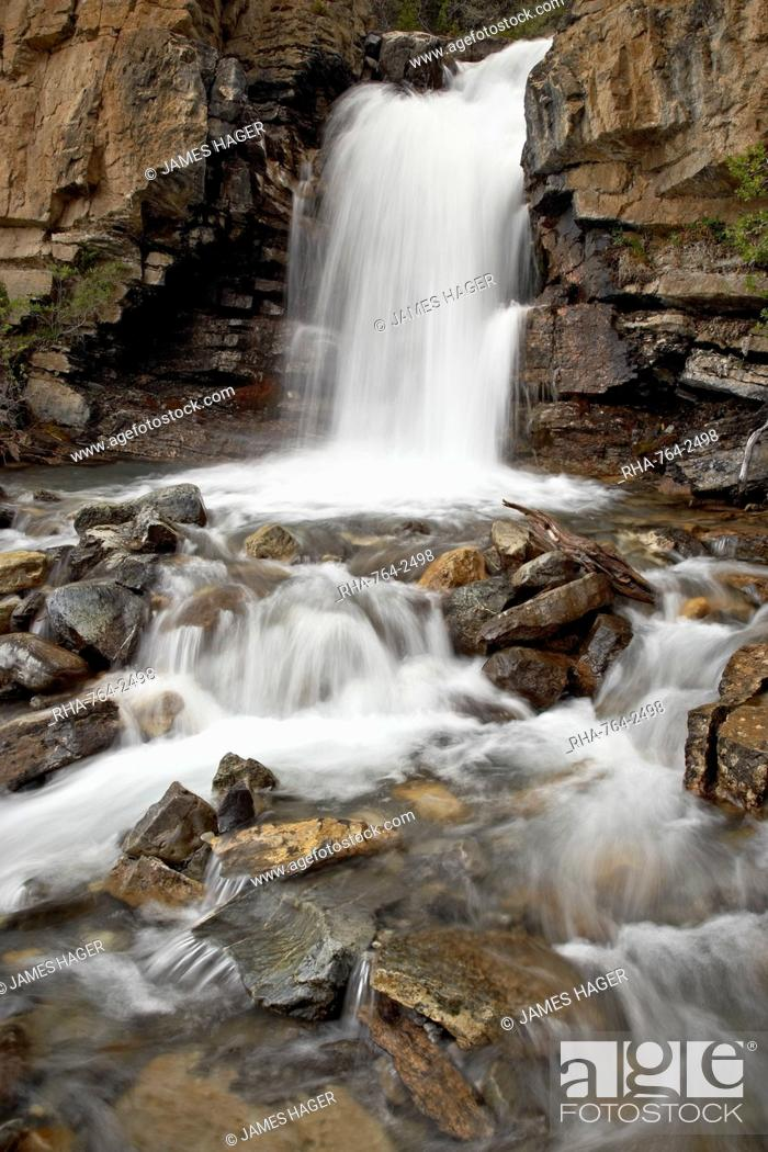 Stock Photo: Tangle Falls, Jasper National Park, UNESCO World Heritage Site, Rocky Mountains, Alberta, Canada, North America.