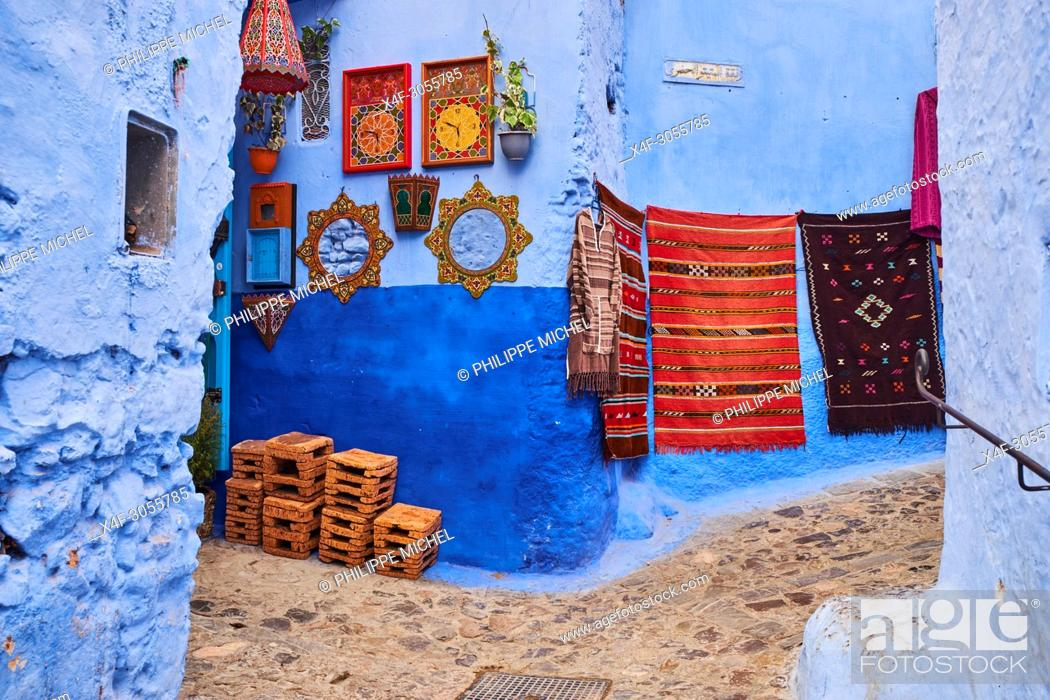 Stock Photo: Morocco, Rif area, Chefchaouen (Chaouen) town, the blue city.