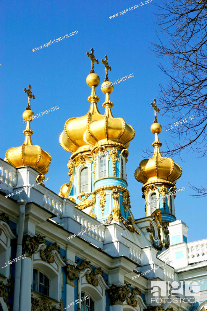Stock Photo: Golden domes of The Royal Chapel of Catherine Palace of Saint-Petersburg. Pushkin. St. Petersburg. Russia.