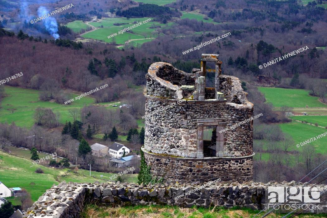 Stock Photo: Watchtower of 12th century Château de Murol - Monument Historique since 1889 what helped to save it, Route Historique des Châteaux d'Auvergne.