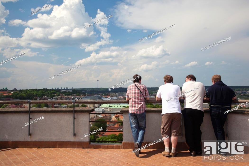 Stock Photo: Lithuania, Vilnius, Gediminas Hill visitors.
