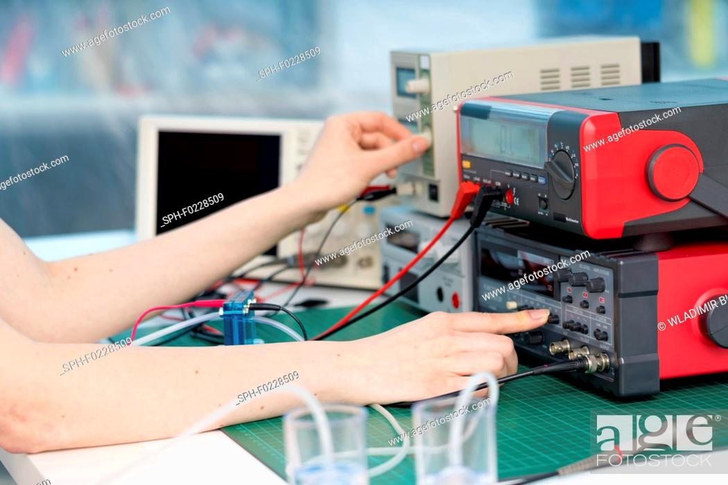 Stock Photo: Hydrogen power cell experiment.