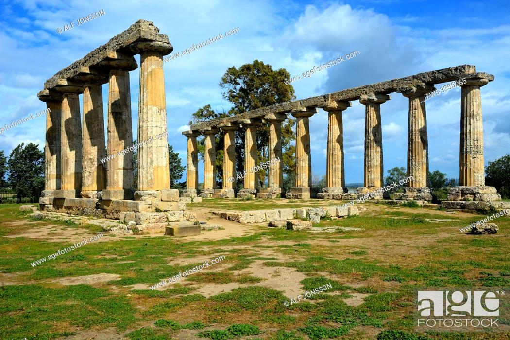 Stock Photo: Doric temple of Hera, Tavole Palatine, in Metaponto, Basilicata, Italy.