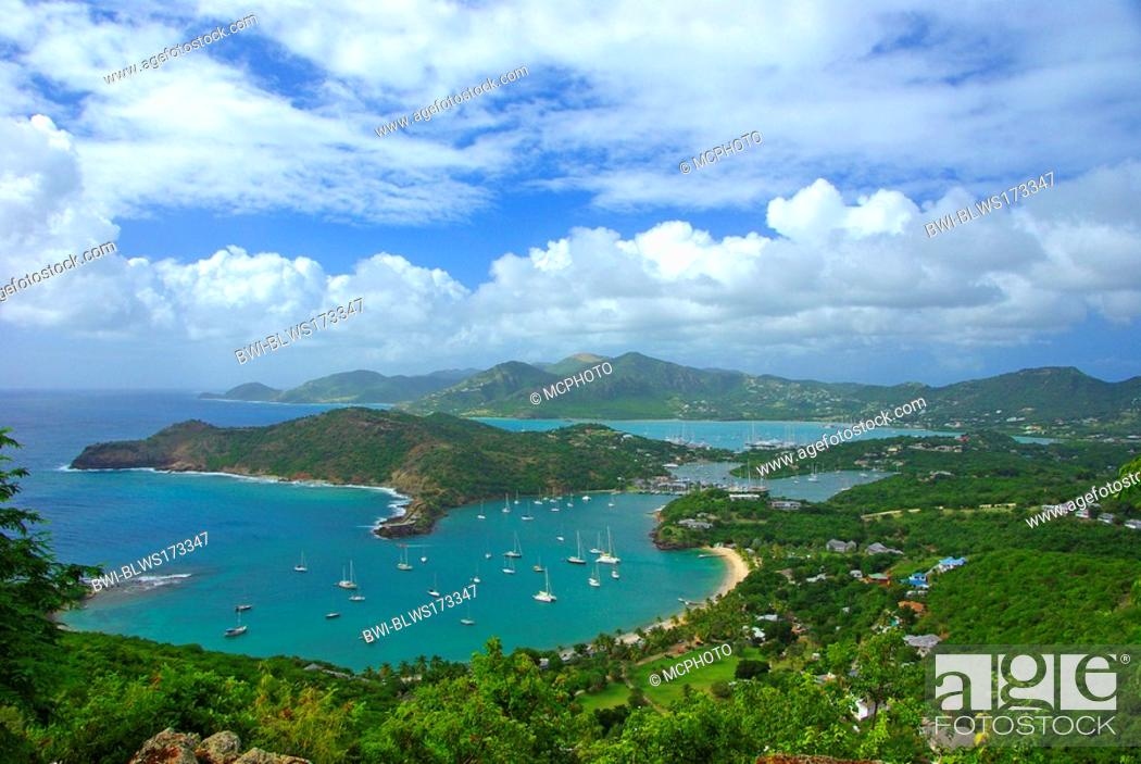 Stock Photo: Leewards Island, Leeward Inseln, Shirley Heights, English Harbour, Falmouth Harbour, Antigua and Barbuda, Caribbean Sea.