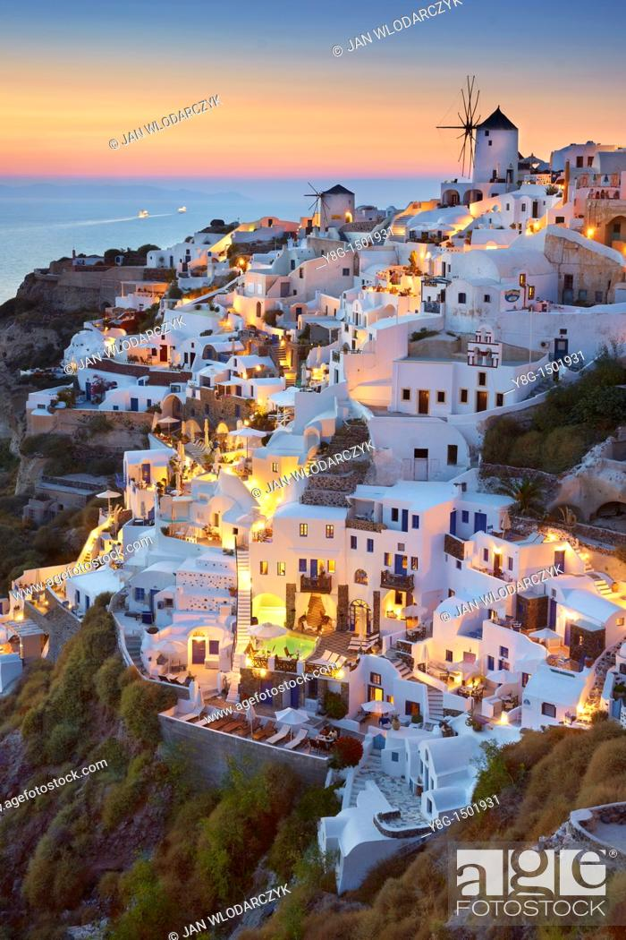 Stock Photo: Oia village, Santorini Island, Cyclades, Greece.