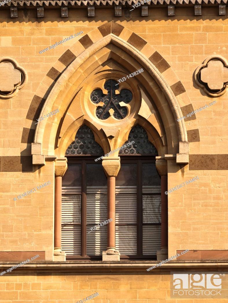 Stock Photo: Ornate Venetian style window, Oxford University natural history museum, Oxford, UK.