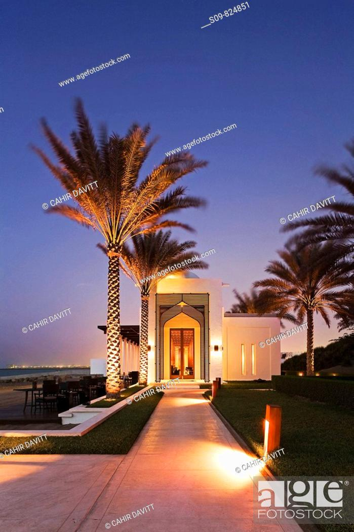 Stock Photo: The seafood beach front restaurant of the luxury 5 star Chedi Hotel resort in Ghubrah, Muscat, Oman at sunset.