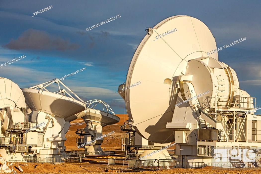 Stock Photo: ALMA observatory, Antennas in plain of Chajnantor, 5000 meters of altitude, Array Operations Site (AOS), Atacama desert. Region de Antofagasta. Chile.