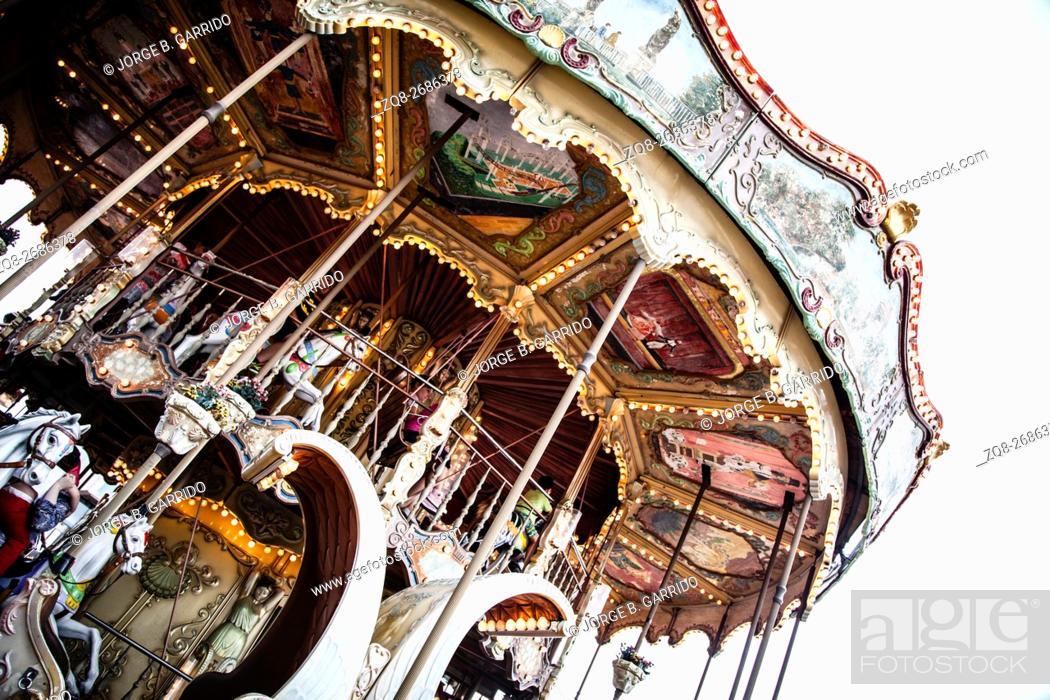 Stock Photo: Carrousel at Tibidabo Amusement Park.
