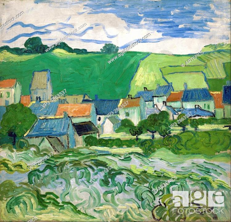 Stock Photo: Vincent van Gogh - View of Auvers - Van Gogh Museum, Amsterdam.