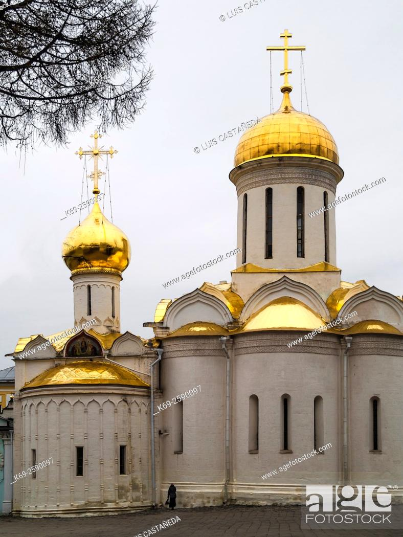 Stock Photo: The Holy Lifegiving Trinity Cathedral. The Holy Trinity- St. Sergius Lavra. Monastery. Moscow. Russia.