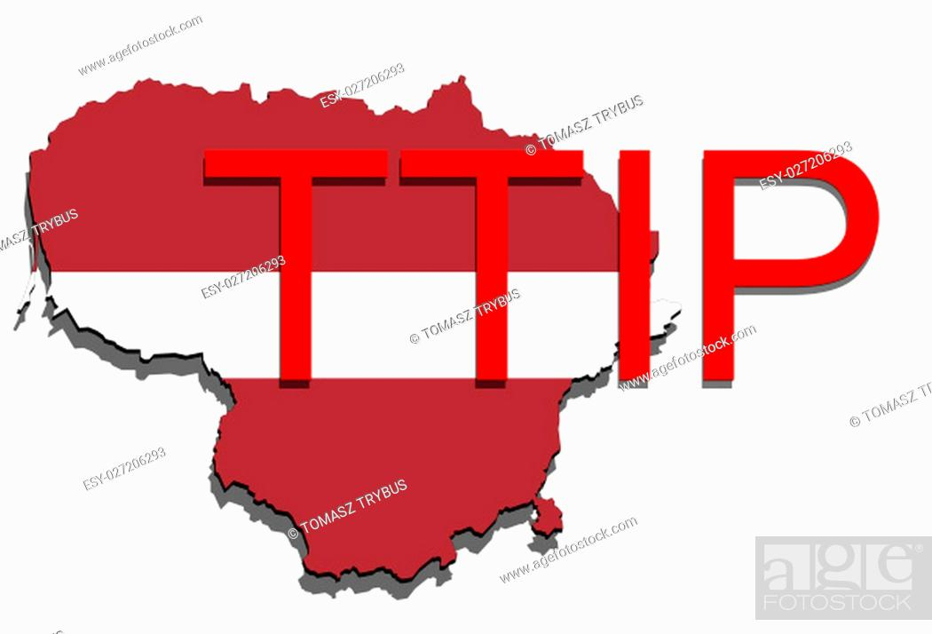 Imagen: ttip - transatlantic trade and investment partnership on lithuania map.