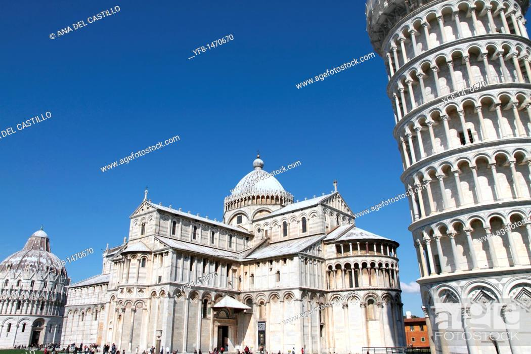 Stock Photo: Leaning tower, Pisa, Tuscany, Italy.