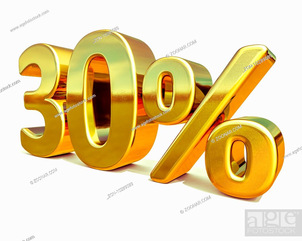 Stock Photo: 3d render: Gold 30 Percent Off Discount Sign, Sale Banner Template, Special Offer 30% Off Discount Tag, thirty Percentages Up Sticker, Gold Sale Symbol.