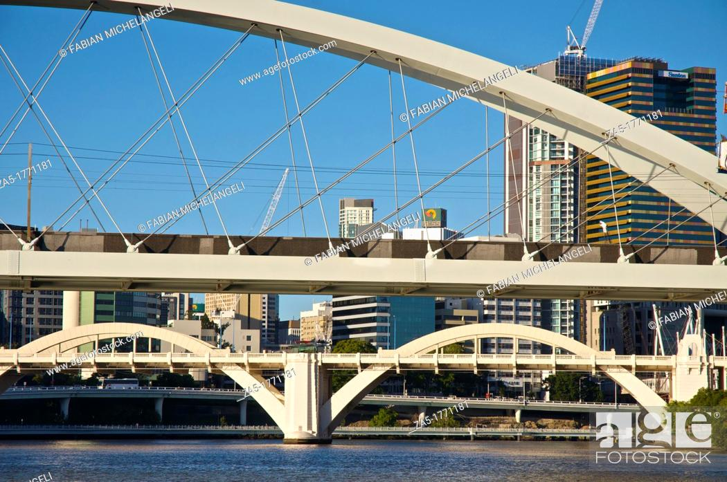Stock Photo: Skyline from City Cat in the Brisbane River, with the Meryvale and the William Jolly Bridges, Brisbane, Australia.
