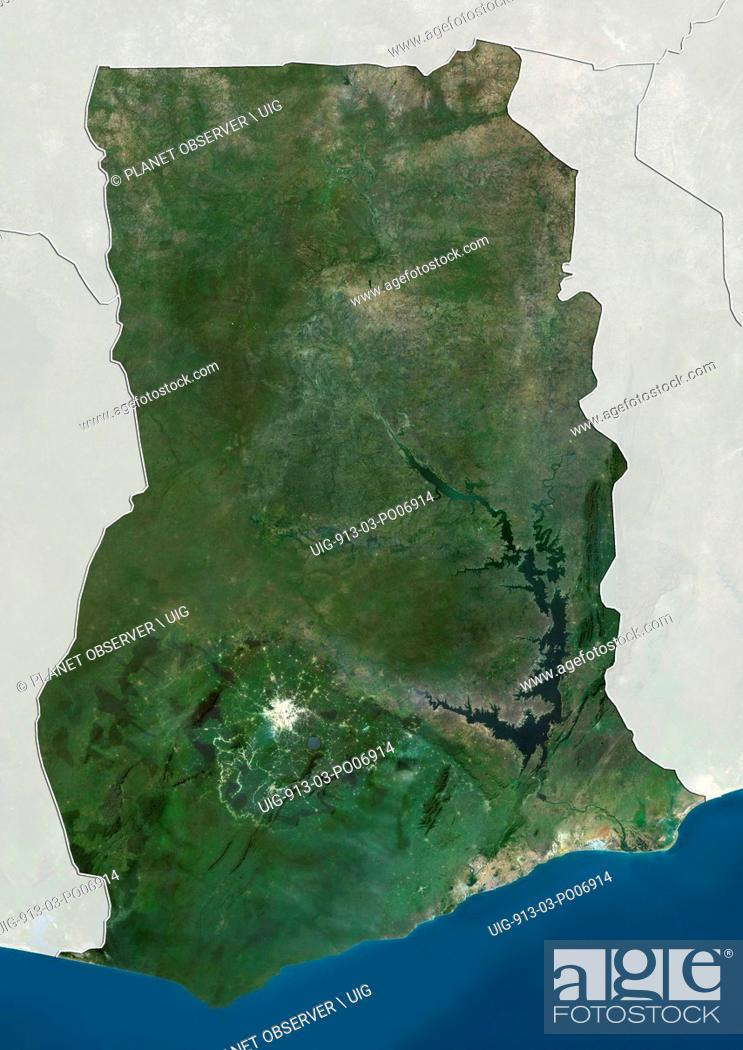 Imagen: Satellite view of Ghana (with country boundaries and mask). This image was compiled from data acquired by Landsat satellites.
