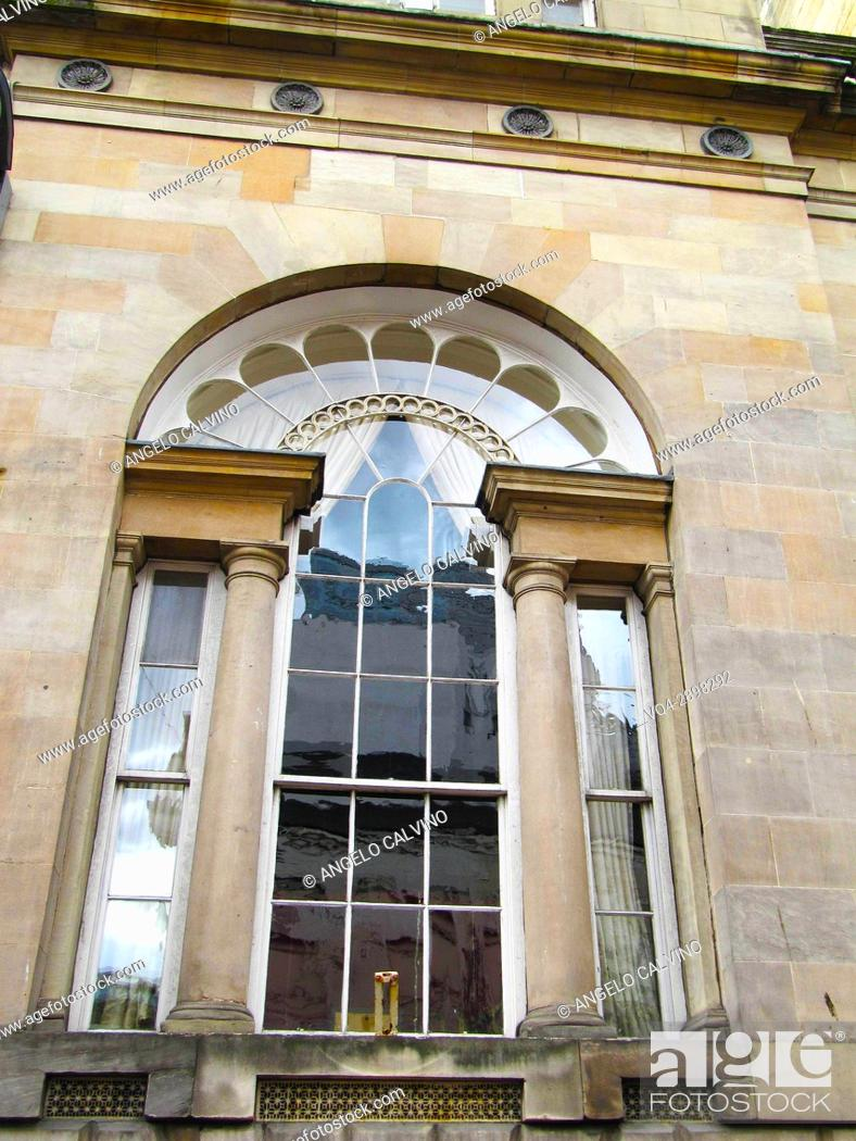 Stock Photo: Window of historic buildings in central Glasgow, Scotland.