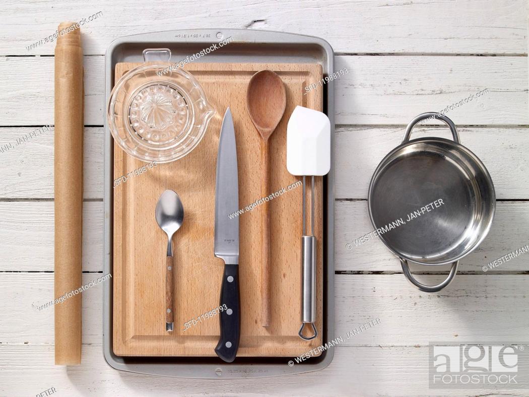 Stock Photo: Kitchen utensils for preparing muesli bars.