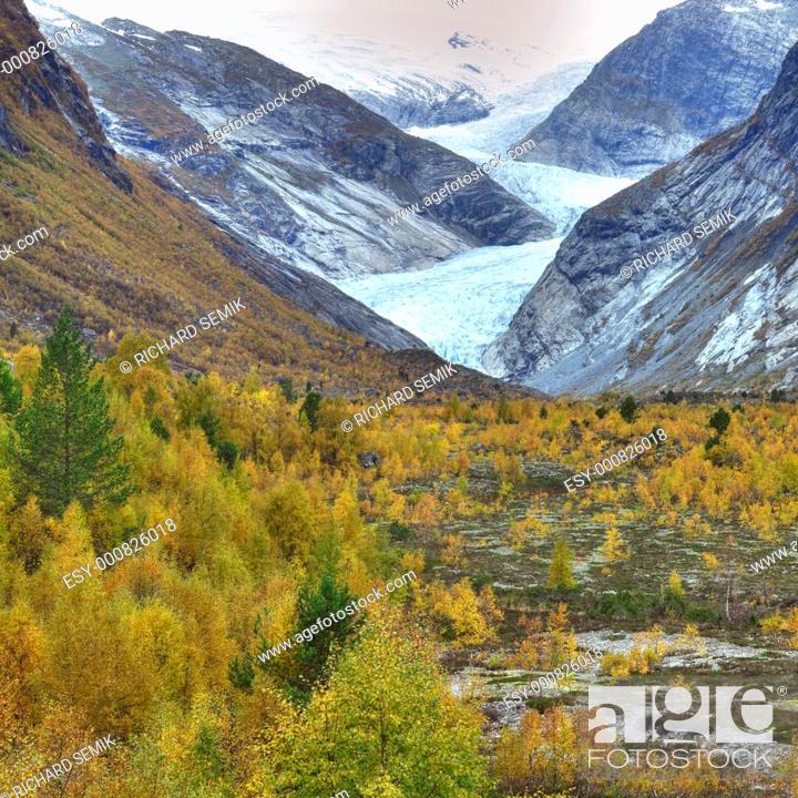 Stock Photo: Nigardsbreen Glacier, Jostedalsbreen National Park, Norway.