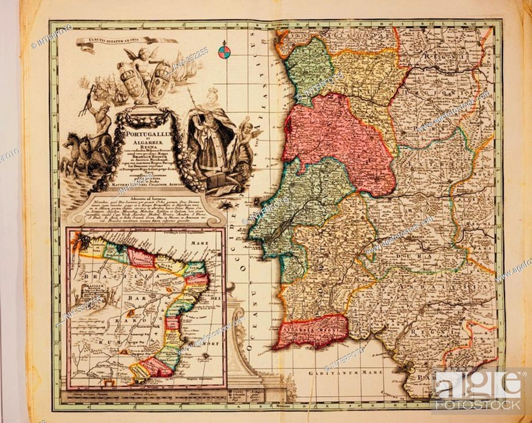 Stock Photo: cartography, maps, Portugal and colonies in Brasil, copper engraving, Atlas Novus by Georg Matthaeus Seutter, printed by Peter von Bhelen, Vienna, 1728.