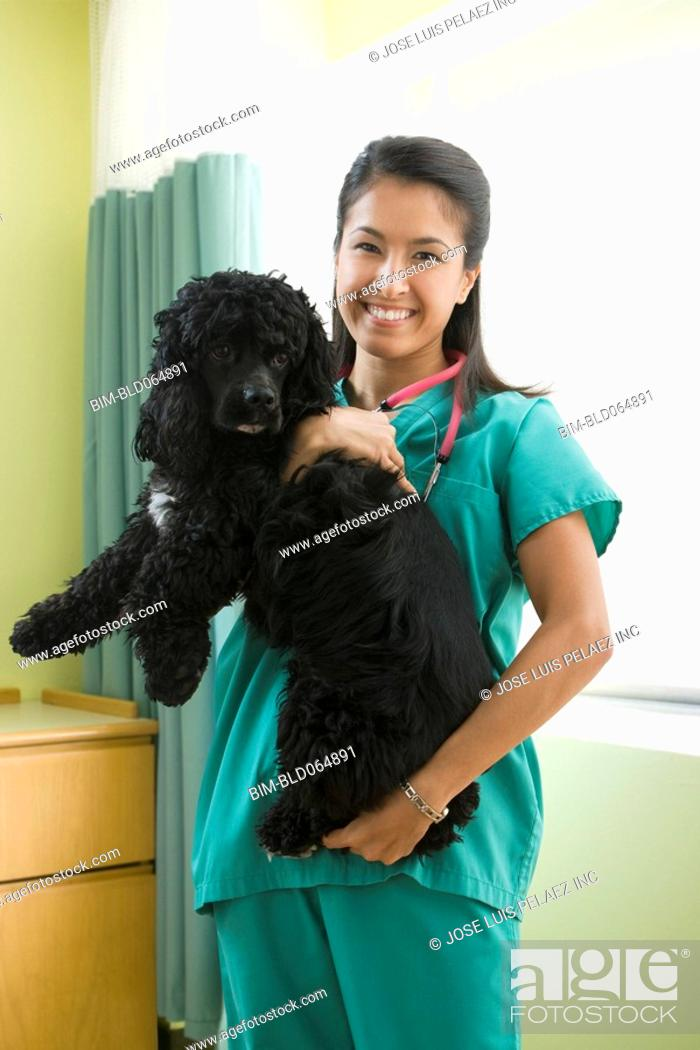 Stock Photo: Eurasian veterinarian holding dog.