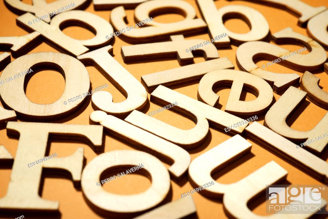 Photo de stock: Wood letters on a table.