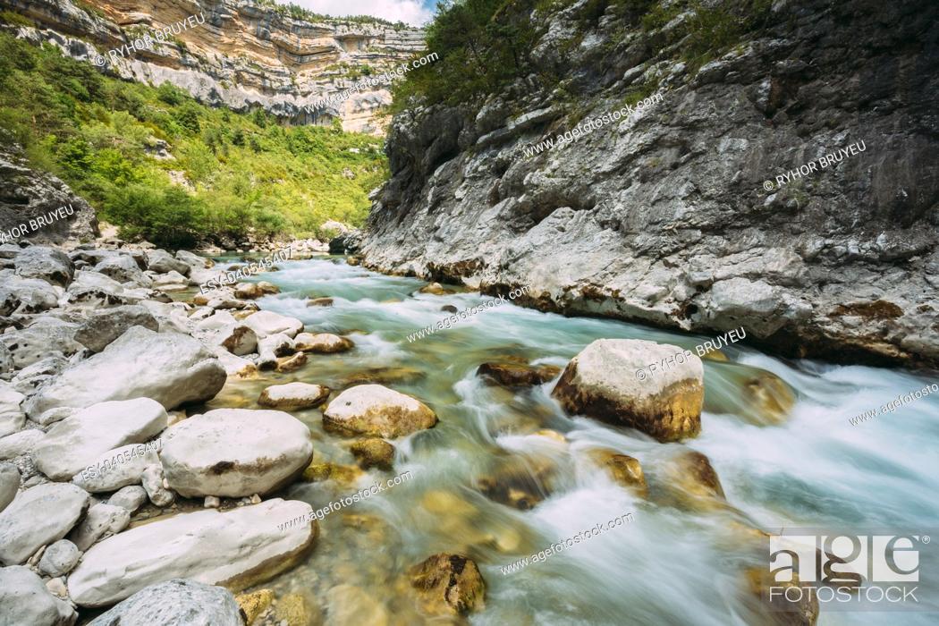 Stock Photo: Mountain River. Scenic View Of Verdon River In France. Landscape, long Exposure. Nobody.