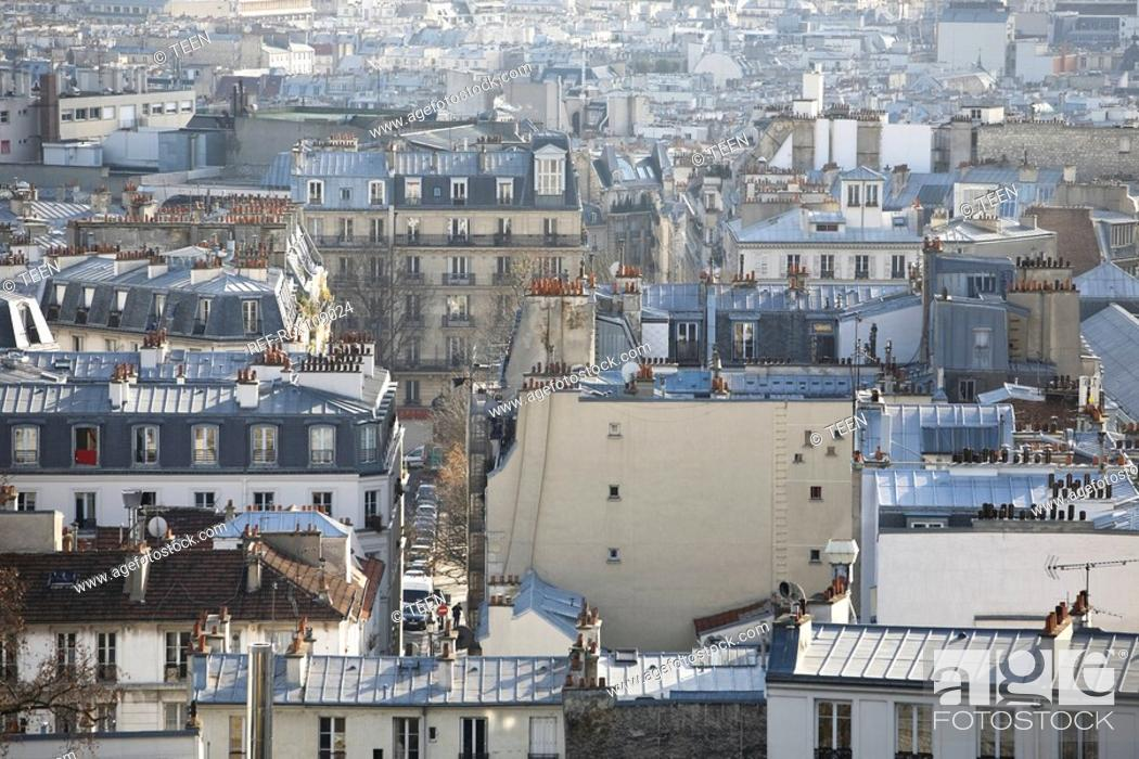 Stock Photo: View over Rooftops over Paris, France.