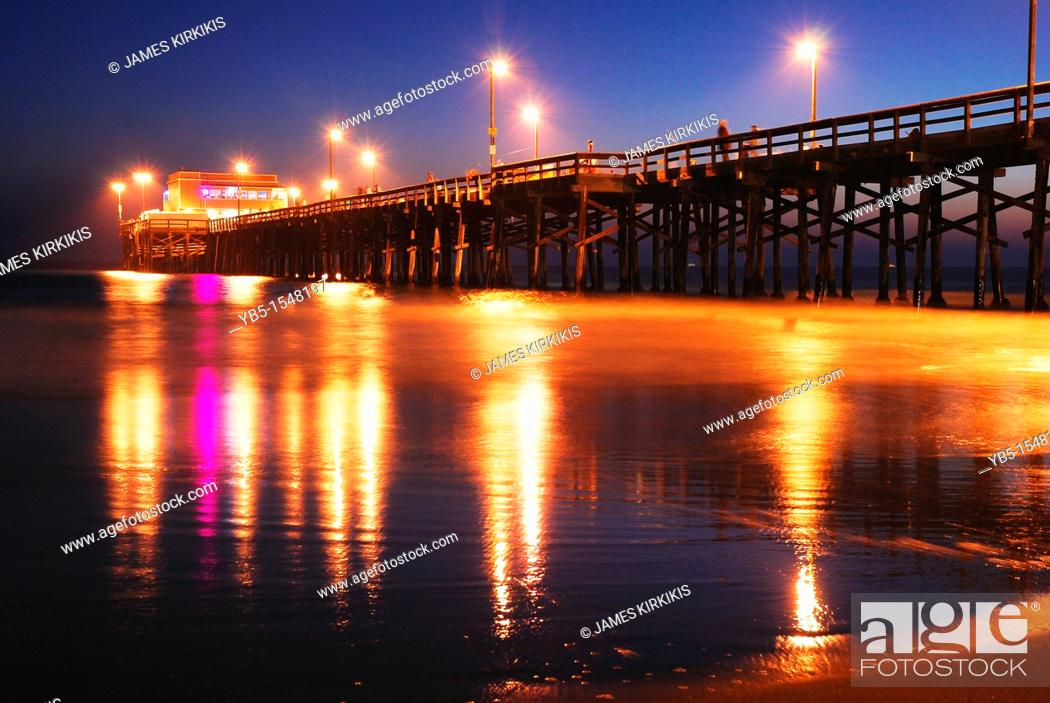 Stock Photo: Newport Beach Pier, Sunset.