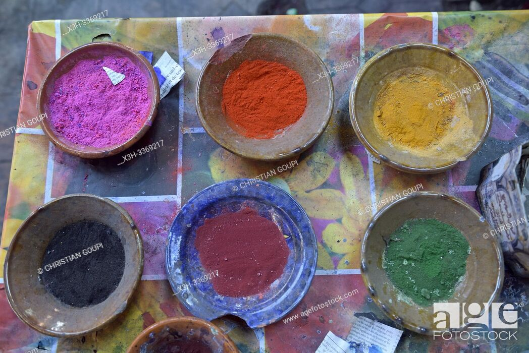 Stock Photo: dyeing workshop in a souk of the Medina of Marrakech, Morocco, North West Africa.