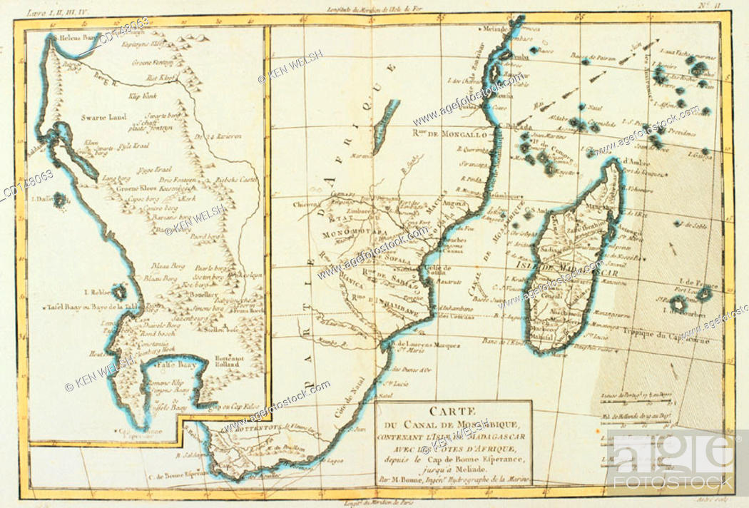 Southern tip of Africa. Cape of Good Hope, Madagascar and Mozambique ...