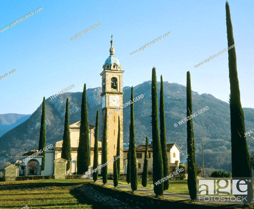 Stock Photo: 10635125, Gentilione, church, cloister, Lugano, Switzerland, Europe, religion, building, construction, Switzerland, Europe, Sa.