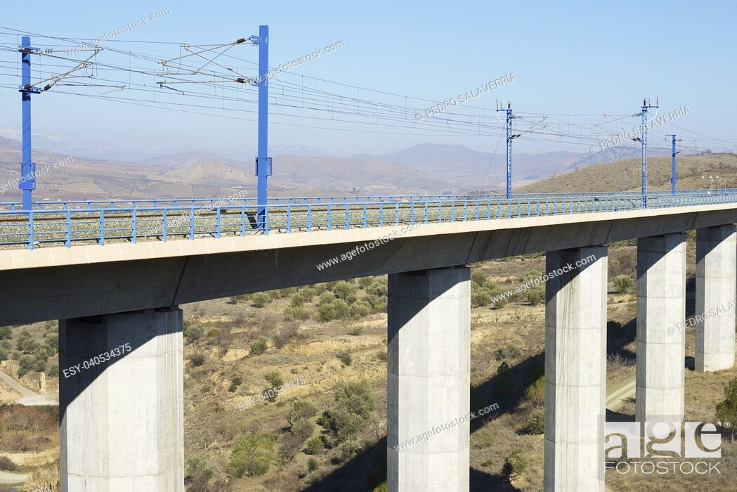 Stock Photo: view of a high-speed viaduct in Zaragoza Province, Aragon, Spain. AVE Madrid Barcelona.