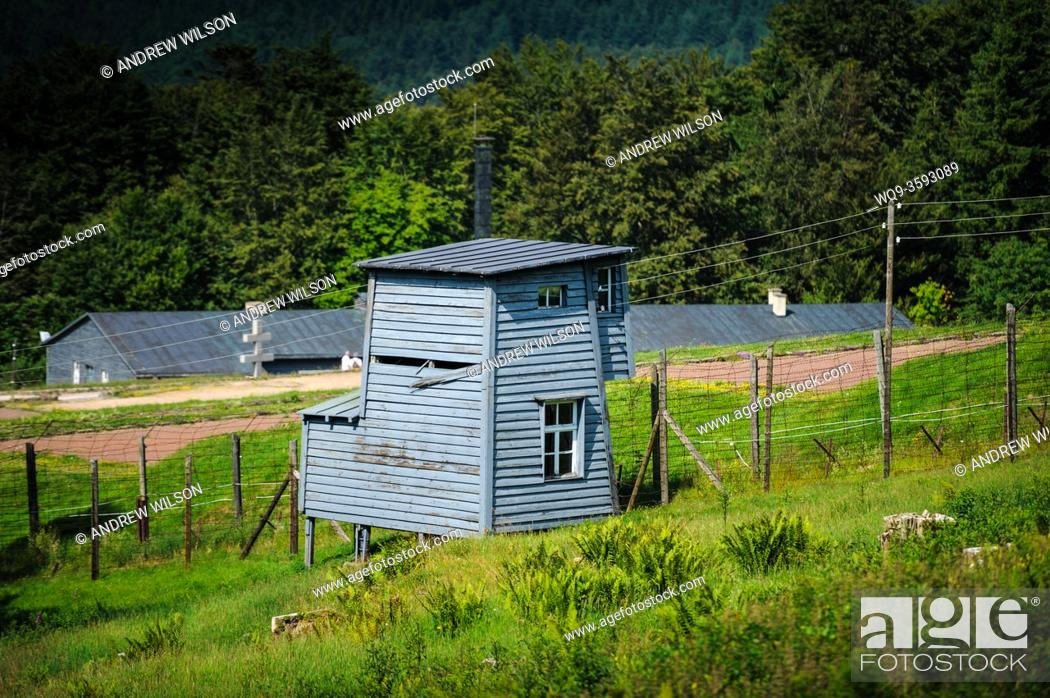 Stock Photo: Watch tower at the Natzweiler-Struthof German concentration camp located in the Vosges Mountains close to the Alsatian village of Natzwiller.