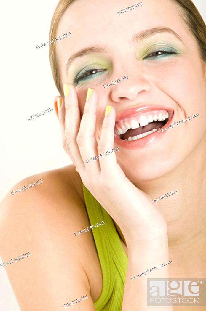 Stock Photo: Beautiful woman laughing.