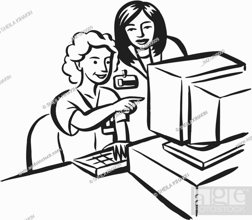 Stock Photo: A woman asking her colleagues on some data entry.