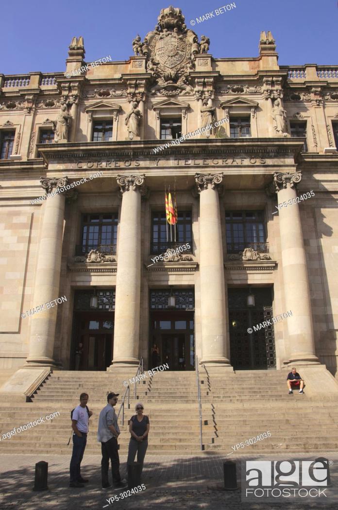 Stock Photo: Post and telegraph building, La Ribera, Barcelona, Spain.
