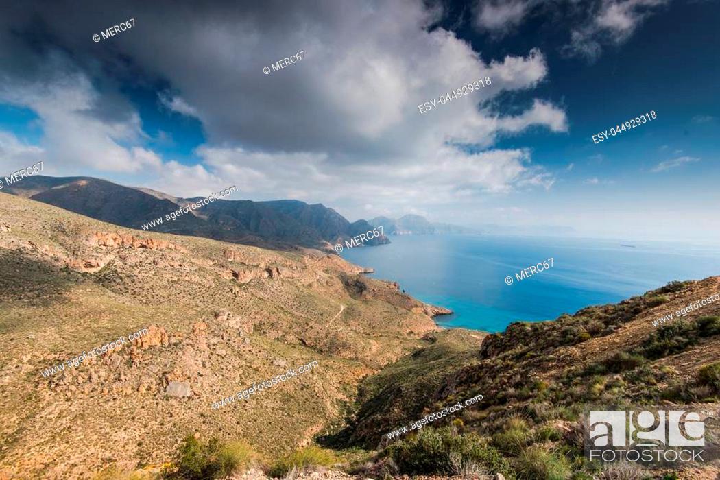 Stock Photo: Panoramic vista on hills in Murcia coast in Spain.