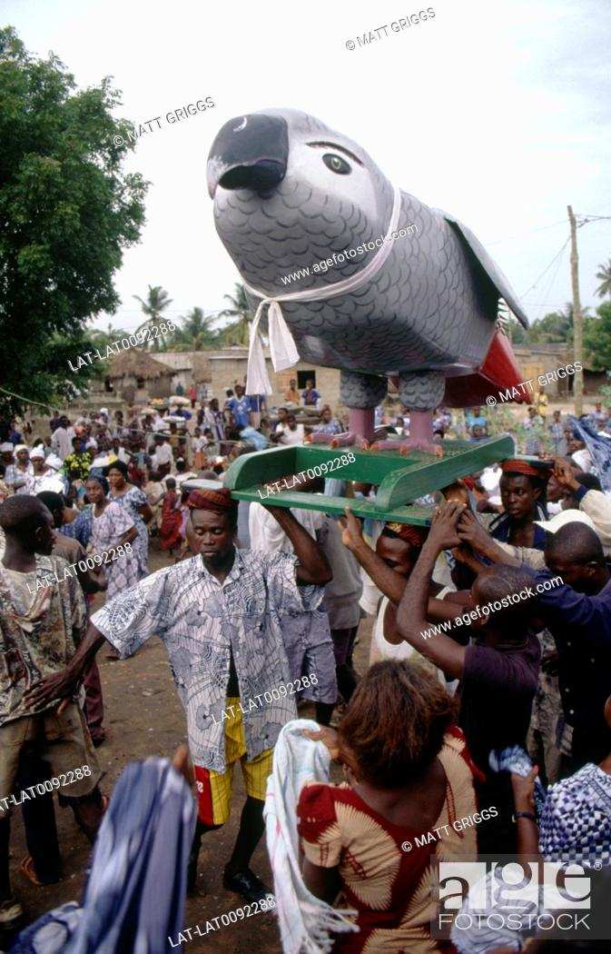 Stock Photo: Coffins are created in all sorts of shapes and images in Ghana. The life of the deceased person is reflected in the choice of shape and decoration.