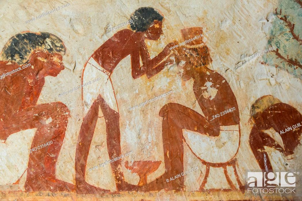 Stock Photo: UNESCO World Heritage, Thebes in Egypt, Valley of the Nobles, tomb of Userhat (number 56, as there are other tomb owners called Userhat). A barber.