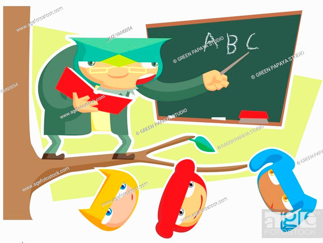 Stock Photo: A pictorial illustration a teacher and his students.